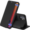 DUXSKINX-IP12MININOIR - Etui antichoc iPhone 12 Mini noir fin avec rabat latéral aimant invisible et coque arrière flexible