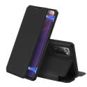 DUXSKINX-NOTE20NOIR - Etui antichoc Galaxy Note 20 noir fin avec rabat latéral aimant invisible et coque arrière flexible