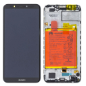 FACE-Y72018NOIR - Ecran complet origine Huawei Y7-2018 Vitre tactile + LCD sur châssis coloris noir