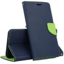 FANCY-A324GBLEU - Etui Galaxy A32(4G) Fancy-Diary bleu logements cartes fonction stand