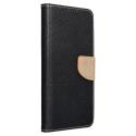 FANCY-A324GNOIRGOLD - Etui Galaxy A32(4G) Fancy-Diary noir et gold logements cartes fonction stand