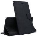 FANCY-A82018 - Etui Galaxy A8-2018 Fancy-Diary noir logements cartes fonction stand