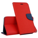 FANCY-J6ROUGE - Etui Galaxy J6 Fancy rouge logements cartes fonction stand