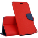 FANCY-XCOVER4ROUGE - Etui Galaxy Xcover-4 Fancy-Diary rouge logements cartes fonction stand