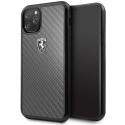 FEHCAHCN58BK - Coque Ferrari iPhone 11 Pro carbone véritable logo Ferrari relief