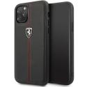 FEHDEHCN58BK - Coque Ferrari iPhone 11 PRO cuir noir lignes rouges