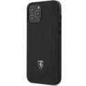 FEOGOHCP12MBK - Coque Ferrari iPhone 12 / 12 Pro cuir noir avec logo