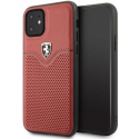 FEOVEHCN61RE - Coque Ferrari iPhone 11 cuir rouge perforé logo Ferrari relief