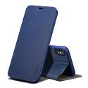 FIB-IPXSBLEU - Etui X-Level FIB pour iPhone Xs coloris bleu foncé rabat latéral