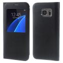 FOLIO-S7NOIR - Etui Folio Galaxy S7 coloris noir aspect cuir avec fenêtre
