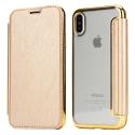 FOLIOBRUSH-IPXGOLD - Etui iPhone X rabat latéral gold avec dos transparent souple
