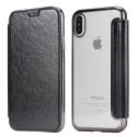 FOLIOBRUSH-IPXNOIR - Etui iPhone X rabat latéral noir avec dos transparent souple