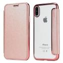 FOLIOBRUSH-IPXROSE - Etui iPhone X rabat latéral rose avec dos transparent souple