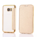 FOLIOBRUSH-S7EDGEGOLD - Etui Galaxy S7-Edge rabat latéral gold avec dos transparent souple
