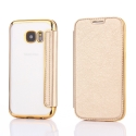 FOLIOBRUSH-S7GOLD - Etui Galaxy S7 rabat latéral gold avec dos transparent souple
