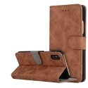 FOLIONUB-IPXMARRON - Etui folio iPhone X aspect nubuck coloris marron logements cartes