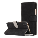 FOLIONUB-IPXNOIR - Etui folio iPhone X aspect nubuck coloris noir logements cartes