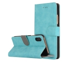 FOLIONUB-IPXTURQ - Etui folio iPhone X aspect nubuck coloris turquoise logements cartes