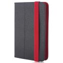 FOLIOTAB-ORBINOIR - Etui tablette universel 10 pouces rabat latéral noir et rouge avec coins extensibles
