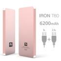 FUNRJ00001 - batterie externe aluminium rose 6200 mAh 2 ports USB