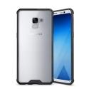FUSION-A8PLUSNOIR - Coque Galaxy-A8 PLUS 2018 bi-matières type bumper noir et dos rigide transparent