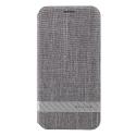 GCASE-FUNKYIPXGRIS - Etui iPhone-X textile gris chiné de G-Case fonction stand