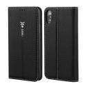 GEBEI-IPHONEXNOIR - Etui Stand iPhone X fermeture magnétique coloris noir