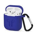 GEL-AIRPODBLEU - Coque souple en gel bleu pour boitier Apple Airpods avec mousqueton