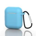 GEL-AIRPODCIEL - Coque souple en gel bleu clair pour boitier Apple Airpods avec mousqueton