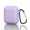 GEL-AIRPODLILAS - Coque souple en gel lilas pour boitier Apple Airpods avec mousqueton