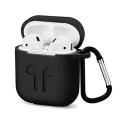 GEL-AIRPODNOIR - Coque souple en gel noir pour boitier Apple Airpods avec mousqueton