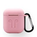 GEL-AIRPODROSE - Coque souple en gel rose pour boitier Apple Airpods avec mousqueton