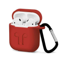 GEL-AIRPODROUGE - Coque souple en gel rouge pour boitier Apple Airpods avec mousqueton