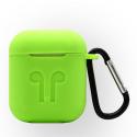 GEL-AIRPODVERT - Coque souple en gel vert pour boitier Apple Airpods avec mousqueton