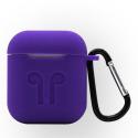 GEL-AIRPODVIOLET - Coque souple en gel violet pour boitier Apple Airpods avec mousqueton