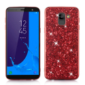 GLITTER-J62018ROUGE - Coque Galaxy J6-2018 avec paillettes coloris rouge