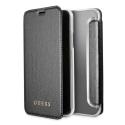 GUFLBKPXIGLTBK - Etui iPhone X Guess aspect cuir noir avec rabat latéral porte cartes