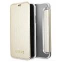 GUFLBKPXIGLTGO - Etui iPhone X Guess aspect cuir gold avec rabat latéral porte cartes