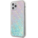 GUHCP12MLG4GGBLPI - Coque iPhone 12/12 Pro Guess série paillettes coloris rose et bleu