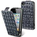HCROCOIP4-GRISFONCE - Etui � rabat PU effet crocs gris fonc� pour iPhone 4/4S