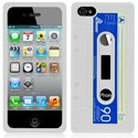 HSILCASSETTE_IP4BL - Housse silicone aspect cassette audio en relief iPhone 4 et 4S
