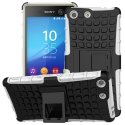 HYBRIDXPEM5BLANC - Coque Hybrid Duo pour Sony Xperia M5 coloris blanc avec b�quille stand