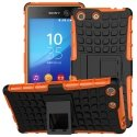 HYBRIDXPEM5ORANGE - Coque Hybrid Duo pour Sony Xperia M5 coloris orange avec béquille stand