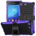 HYBRIDXPEM5VIOLET - Coque Hybrid Duo pour Sony Xperia M5 coloris violet avec béquille stand