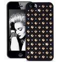 PURO_IPC5ROCK2OR - Coque Rock iPhone 5 Puro Noire avec clous dorés en relief