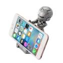 IRON-HOLDERSILVER - Support smartphone de bureau look iron-man en métal gris