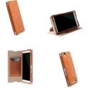 KRUMALMO-T2CAMEL - Etui Krusell KIRUNA pour Sony Xperia T2-Ultra en cuir camel