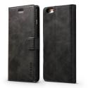 LCIMEEKE-IP6PLUSNOIR - Etui iPhone 6s Plus LC-IMEEKE haut de gamme noir logements carte fonction stand