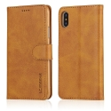 LCIMEEKE-IPXCAMEL - Etui iPhone X LC-IMEEKE haut de gamme camel logements carte fonction stand