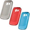 LOT-CC1030 - Lot de 3 x Coques souples Nokia Asha 302 CC1030 gris fumé bleu et rouge